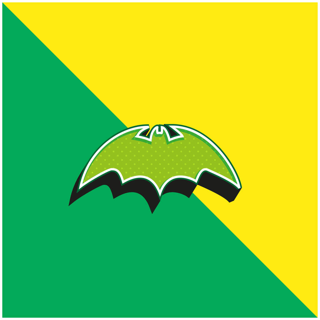 Bat With Rounded Sharp Wings Variant Green and yellow modern 3d vector icon logo