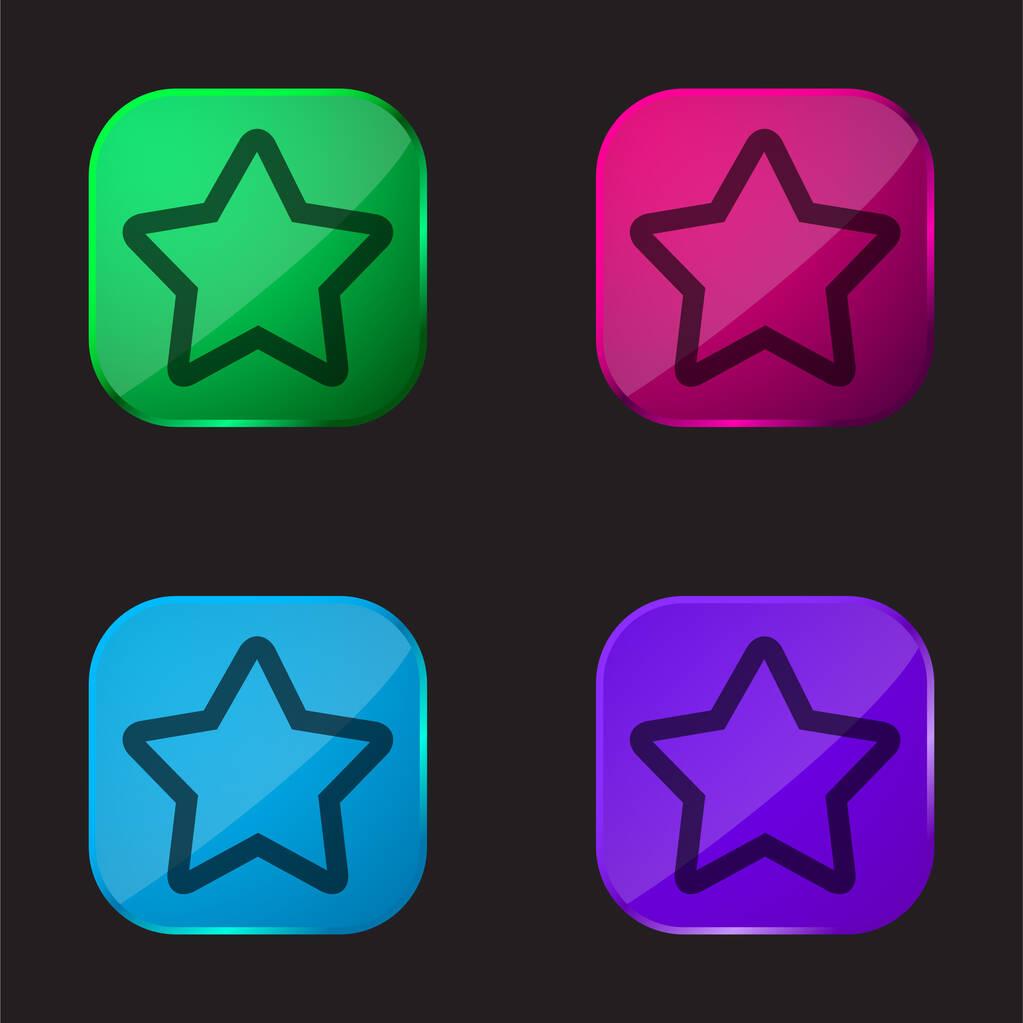 1 Star four color glass button icon