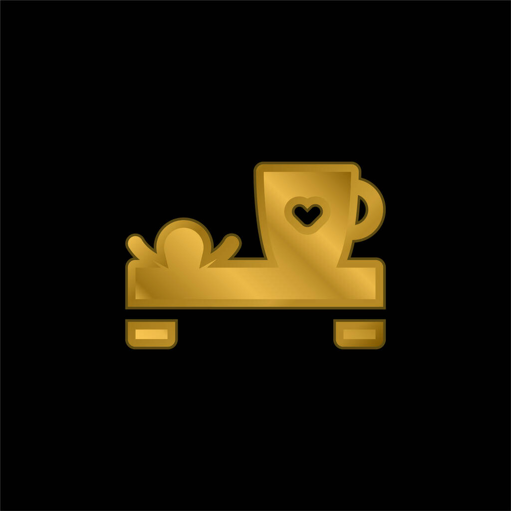 Bed And Breakfast gold plated metalic icon or logo vector