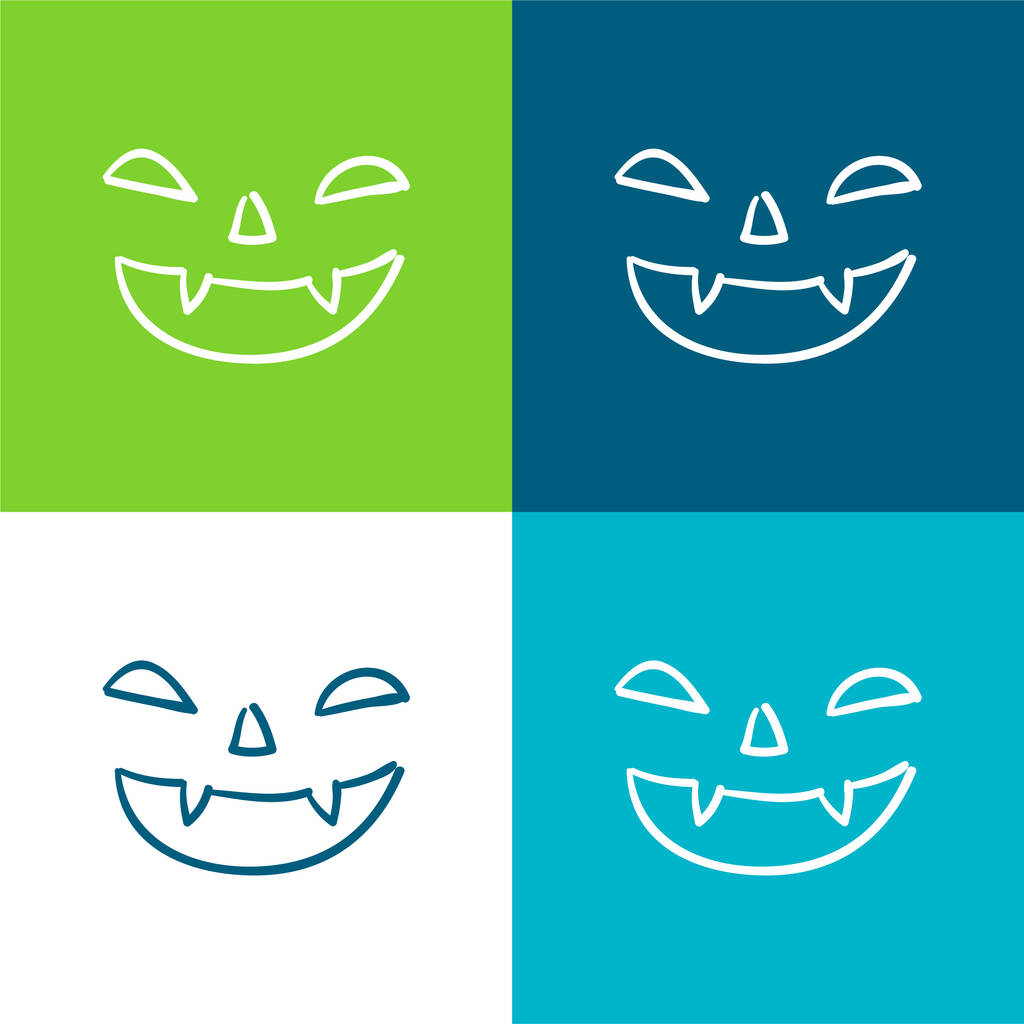 Bad Halloween Face Of Mouth Nose And Eyes Outlines Flat four color minimal icon set