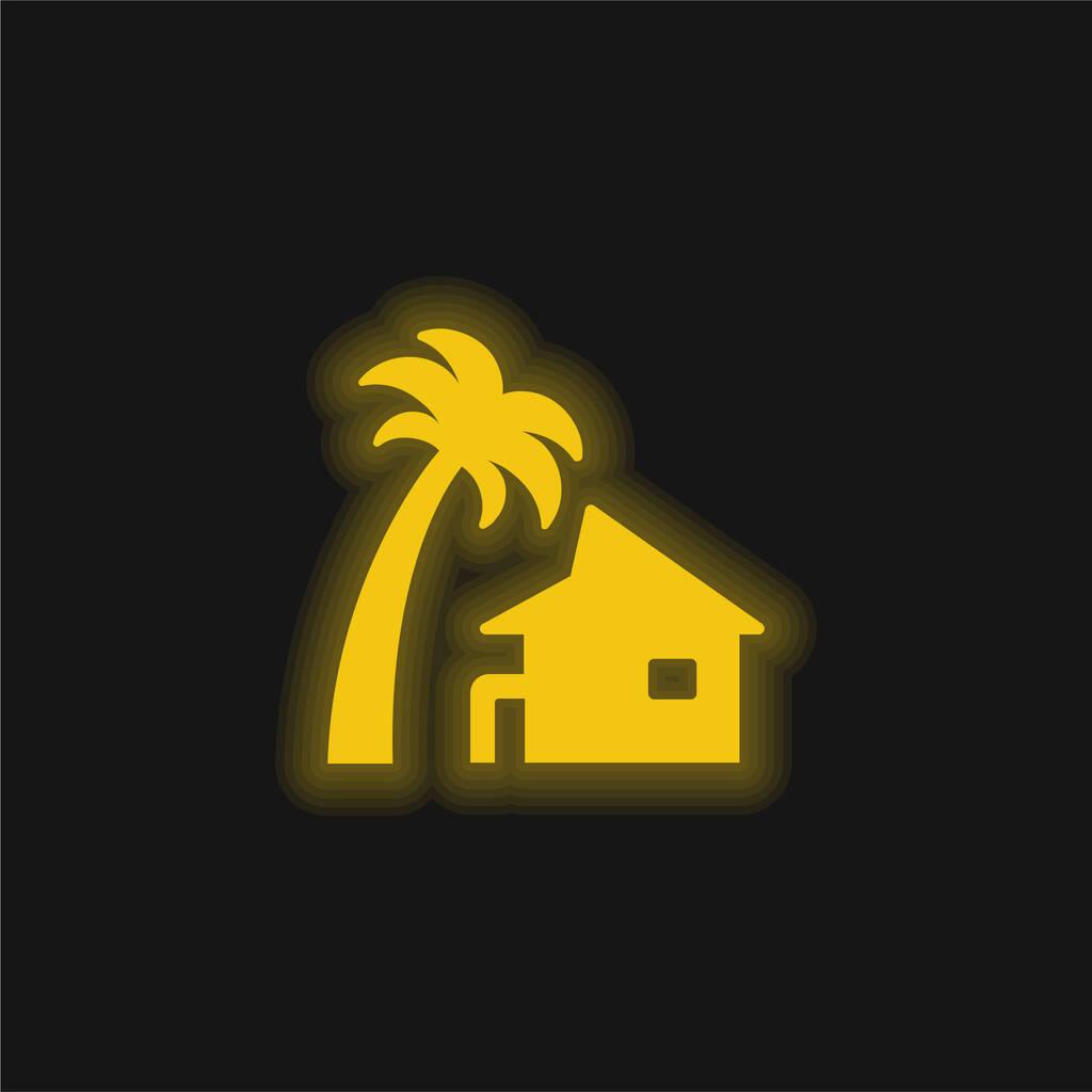 Beach House yellow glowing neon icon