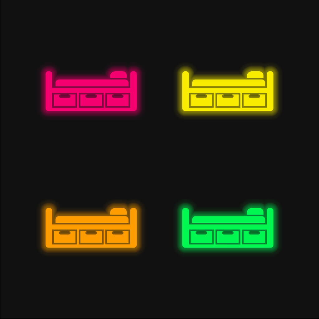 Bed Design With Three Drawers four color glowing neon vector icon