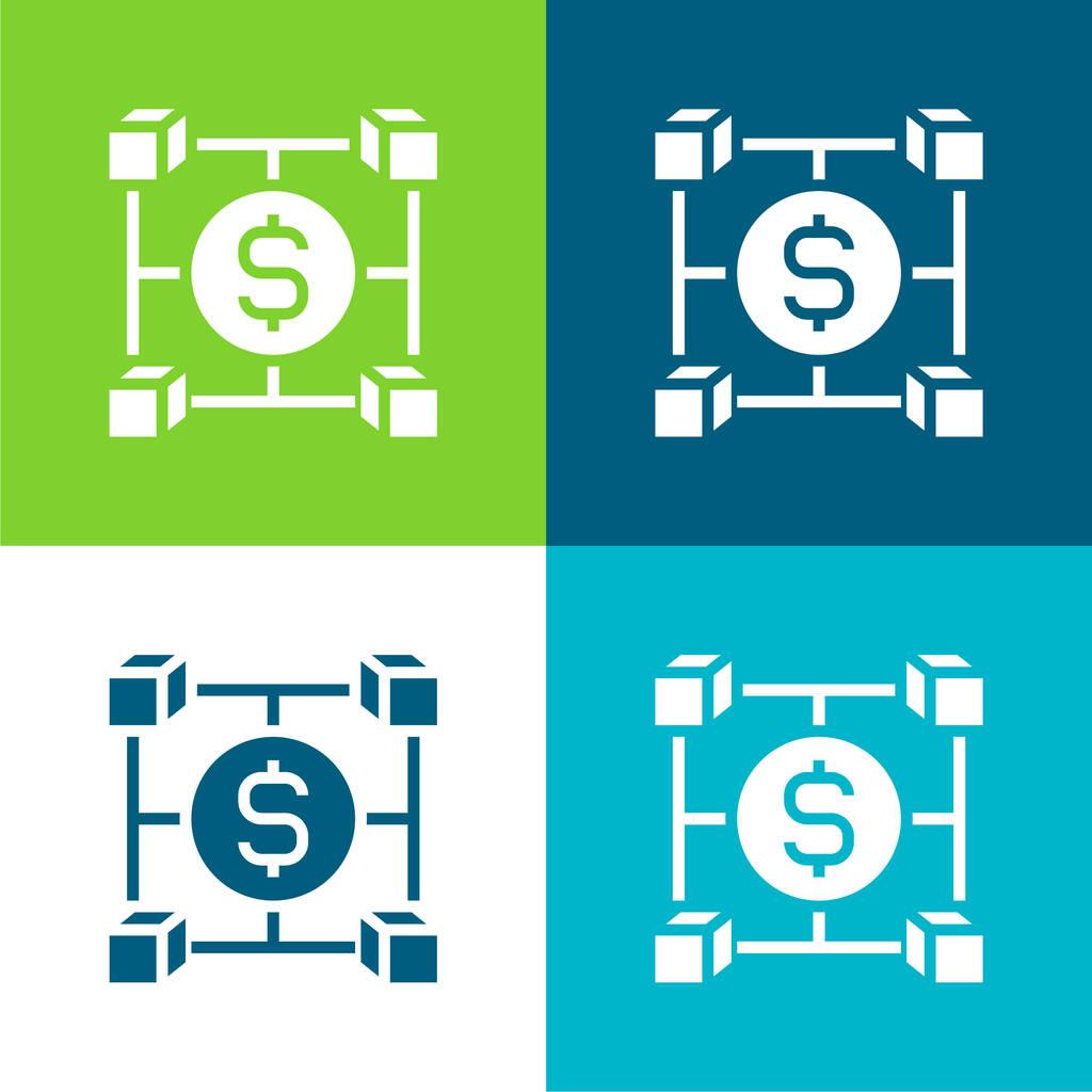 Blockchain Flat four color minimal icon set