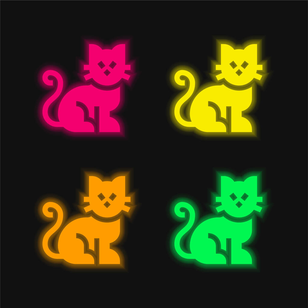 Black Cat four color glowing neon vector icon