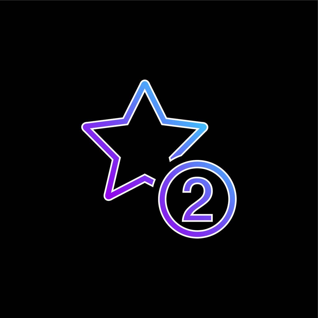 2 Stars Symbol blue gradient vector icon