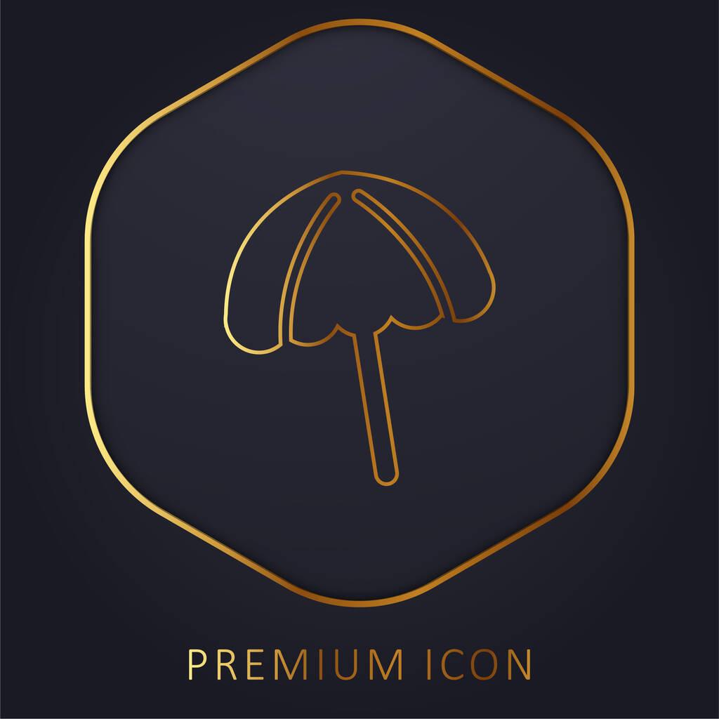 Black Beach Umbrella golden line premium logo or icon