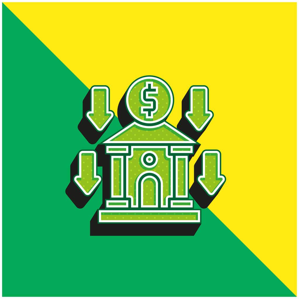 Bank Green and yellow modern 3d vector icon logo