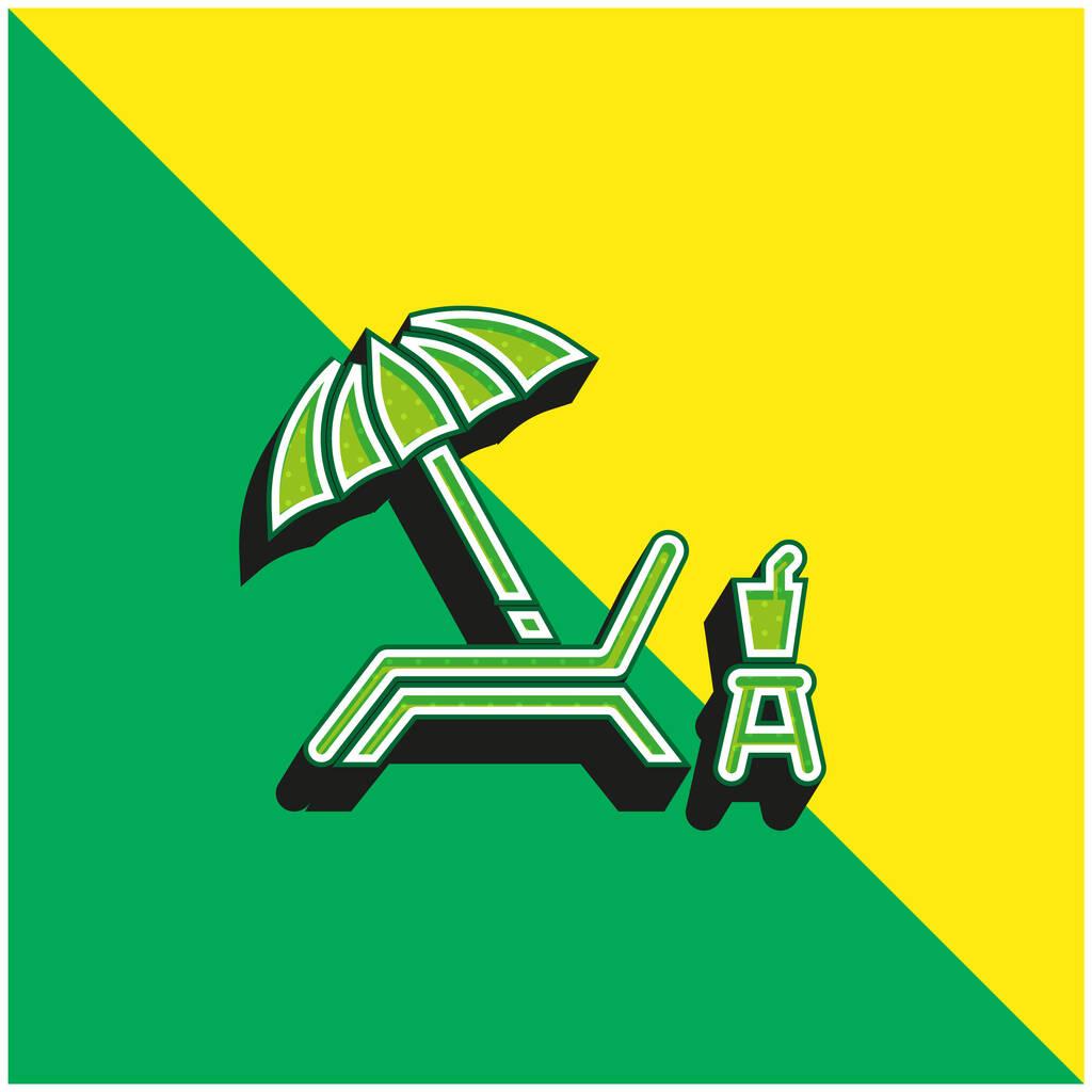 Beach Chair Green and yellow modern 3d vector icon logo