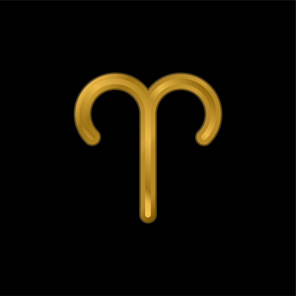Aries Symbol gold plated metalic icon or logo vector