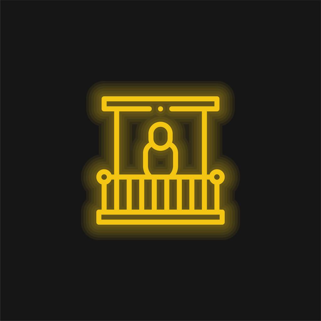 Balcony yellow glowing neon icon