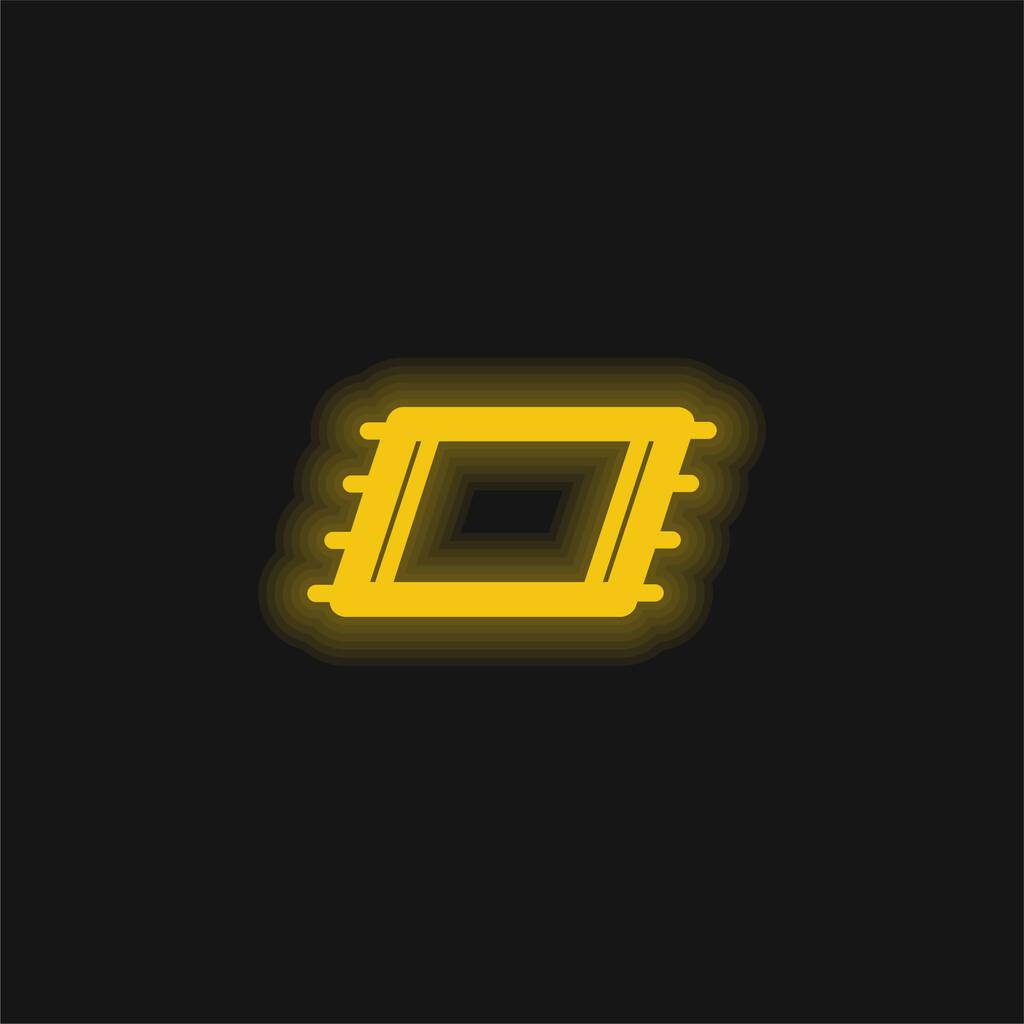 Beach Towel yellow glowing neon icon