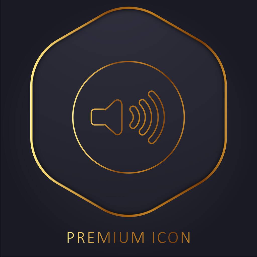 Audio Control Button golden line premium logo or icon