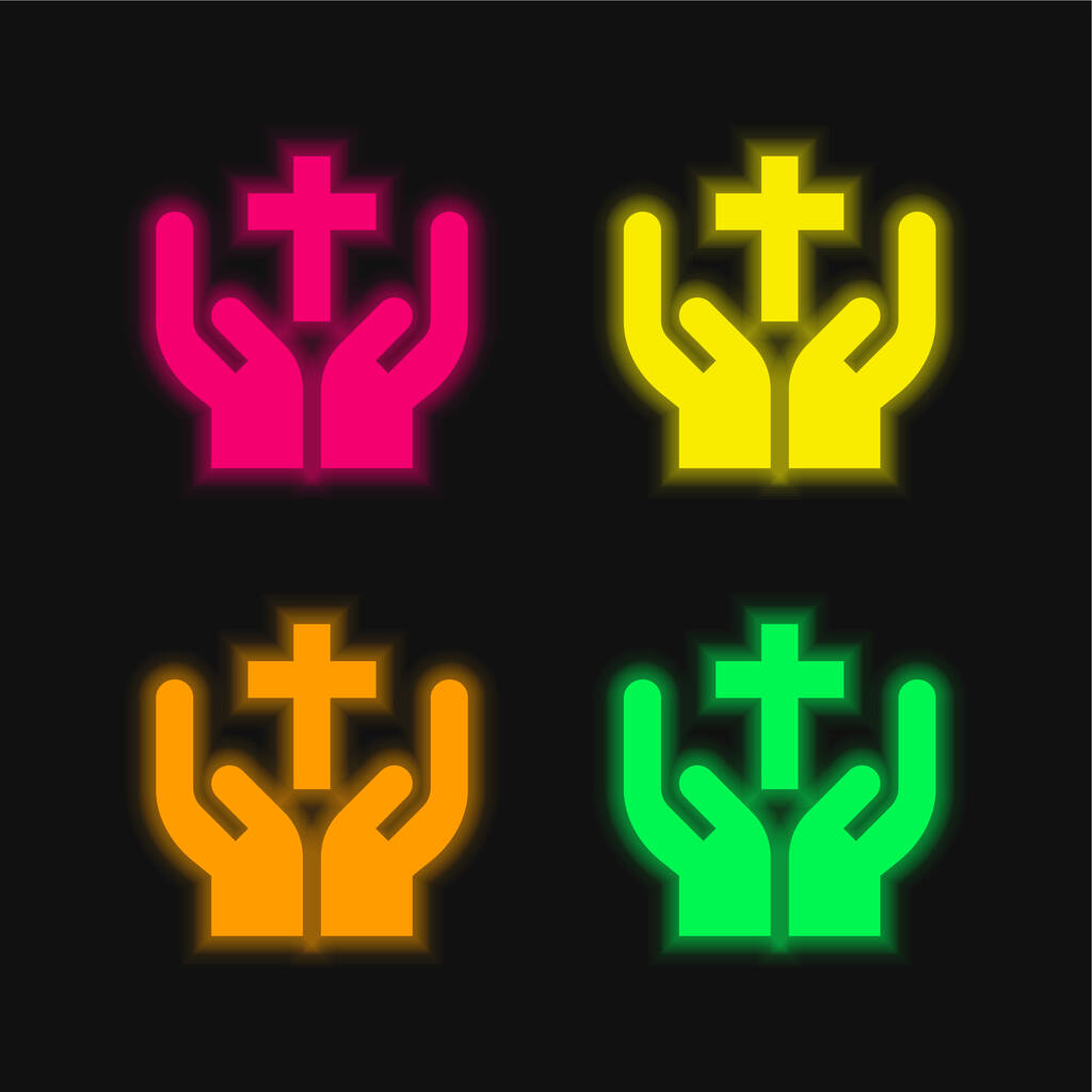 Bless four color glowing neon vector icon
