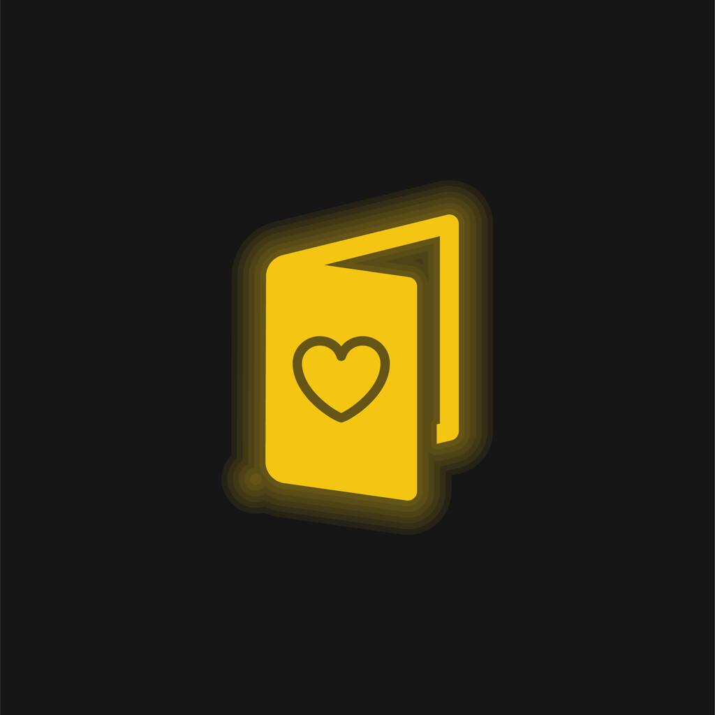 Birthday Card yellow glowing neon icon