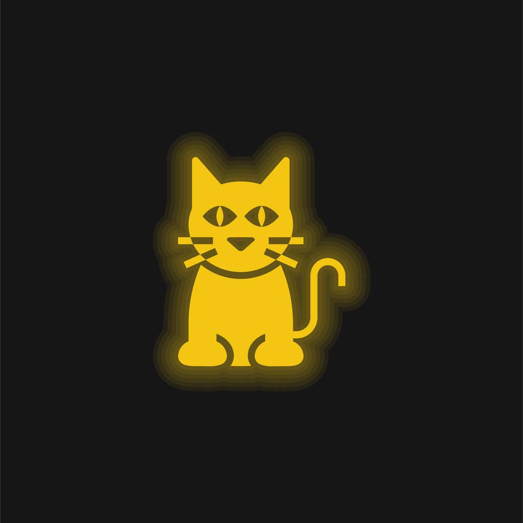 Black Cat yellow glowing neon icon