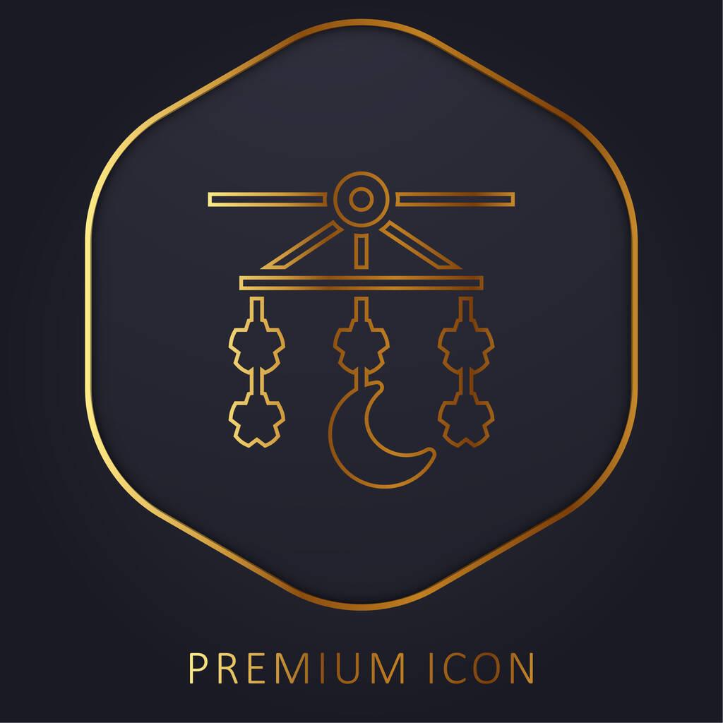 Baby Mobile golden line premium logo or icon