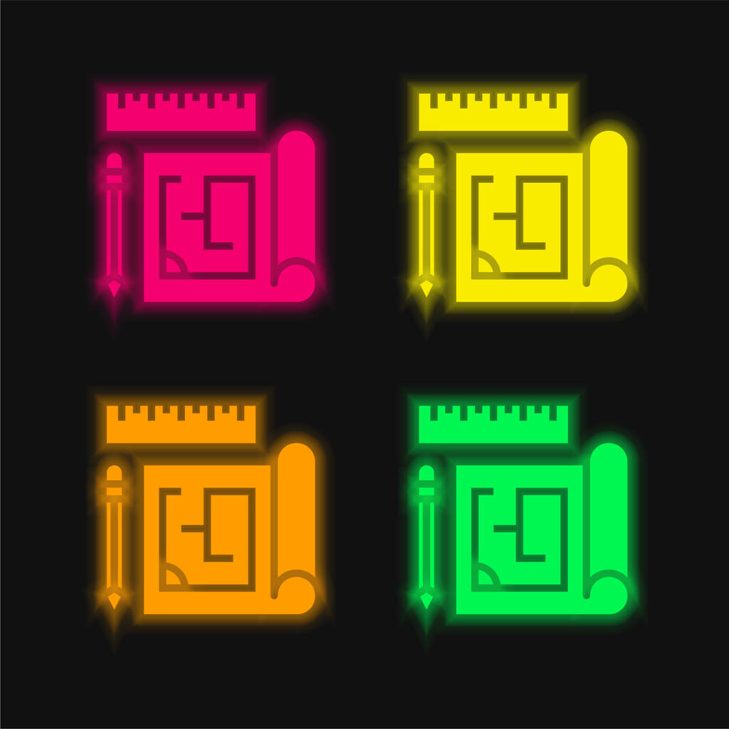 Blueprint four color glowing neon vector icon