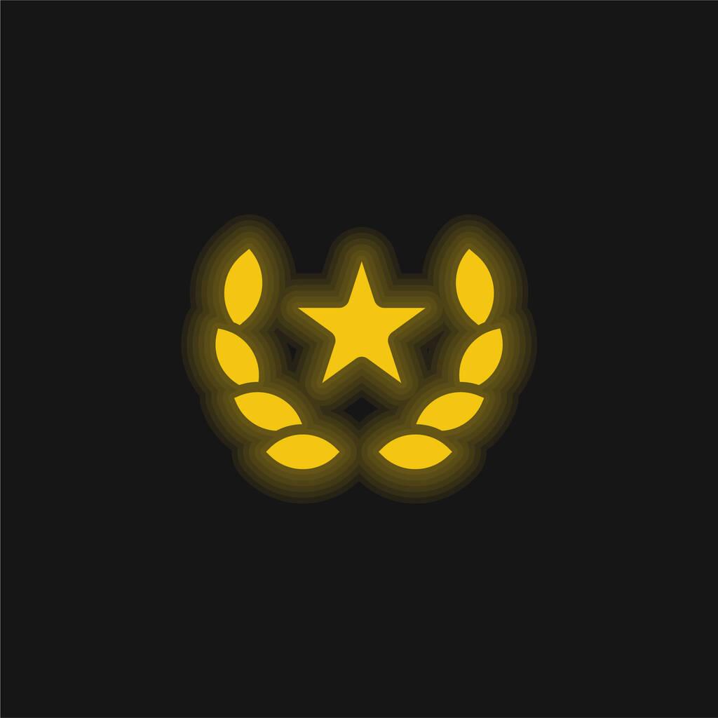 Award yellow glowing neon icon
