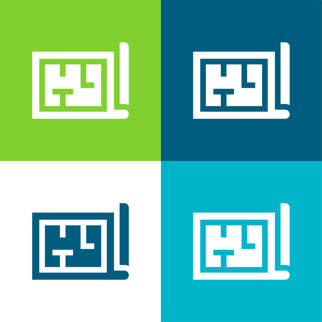 Architecture Flat four color minimal icon set