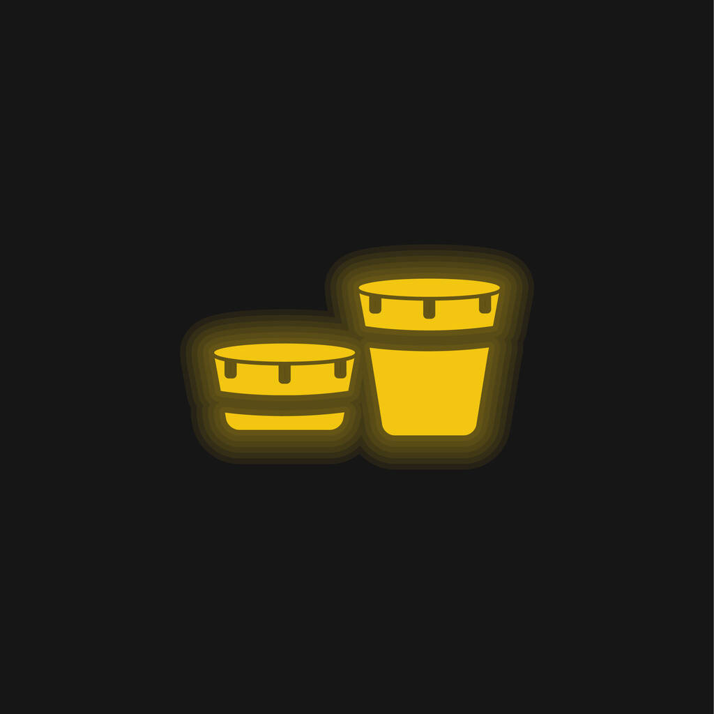 African Drum Set With Design yellow glowing neon icon
