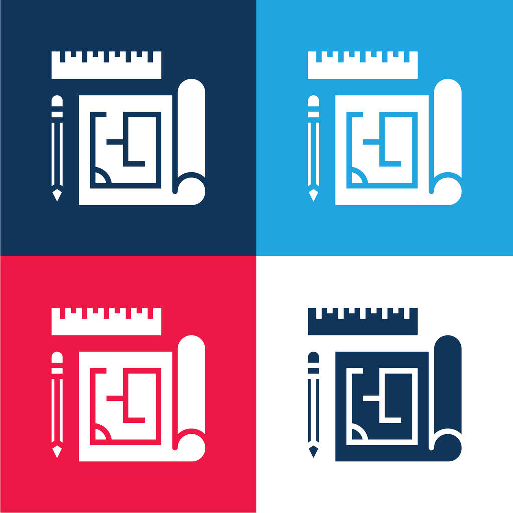 Blueprint blue and red four color minimal icon set