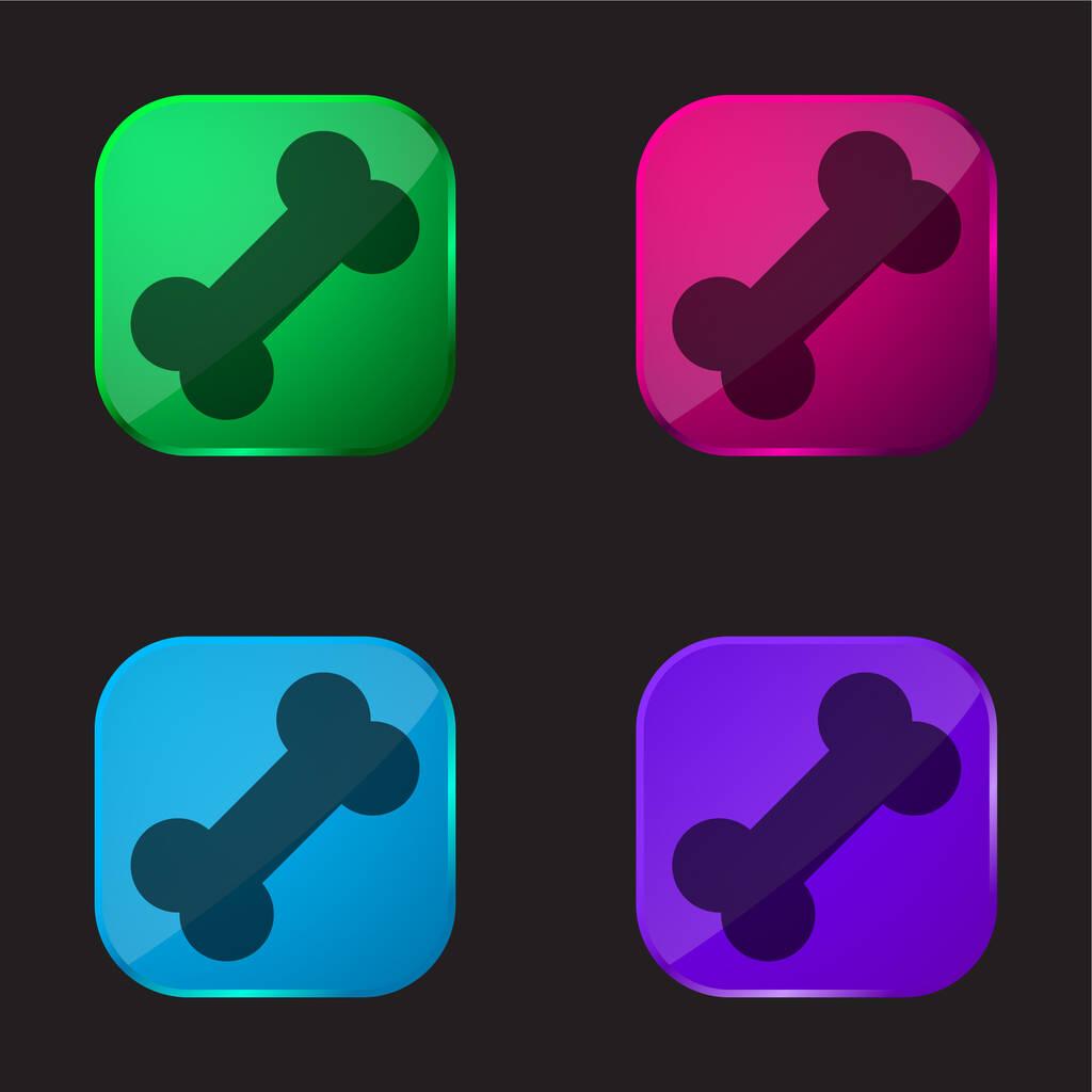 Bone four color glass button icon