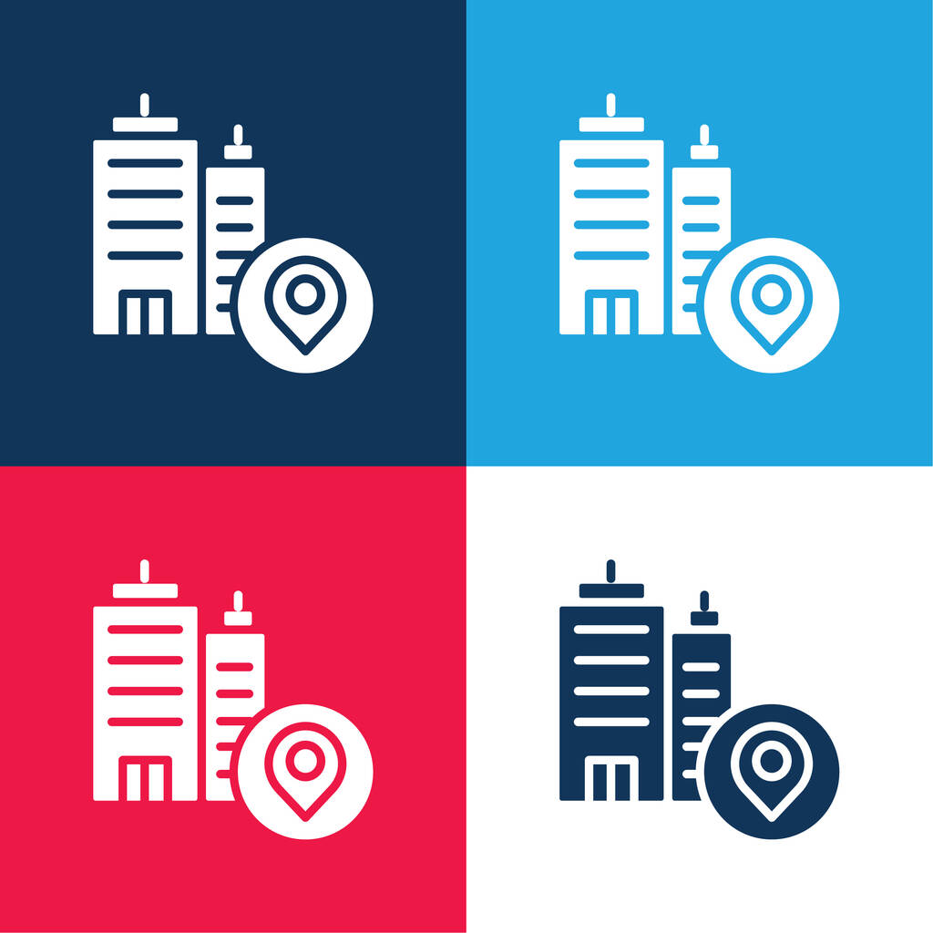 Address blue and red four color minimal icon set