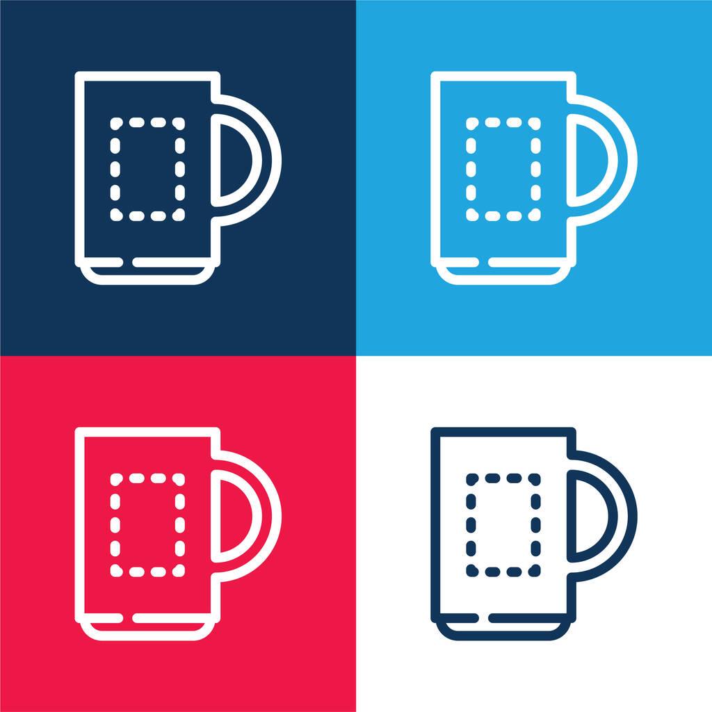 Big Mug blue and red four color minimal icon set