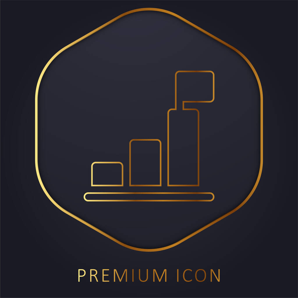 Bar Chart golden line premium logo or icon