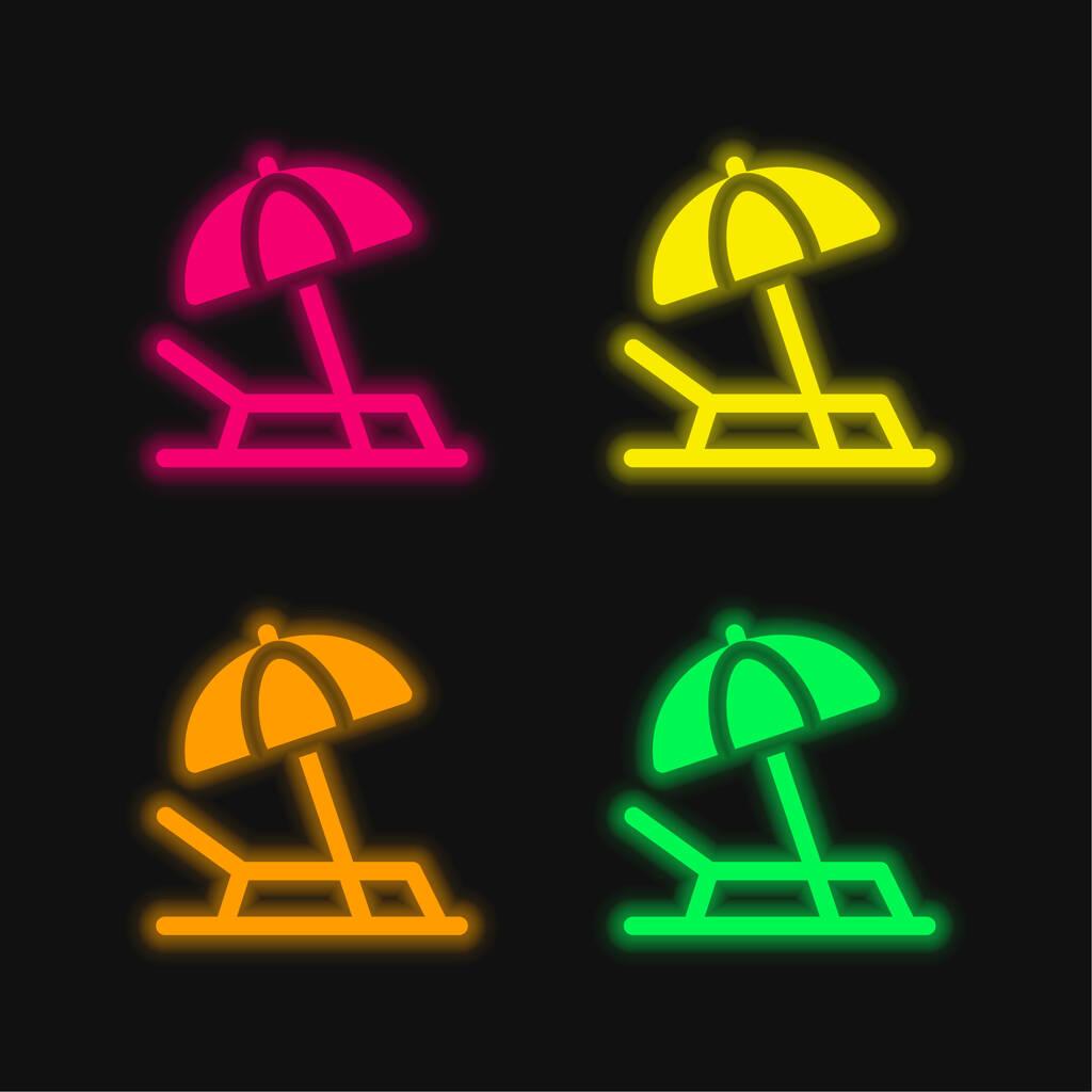 Beach four color glowing neon vector icon