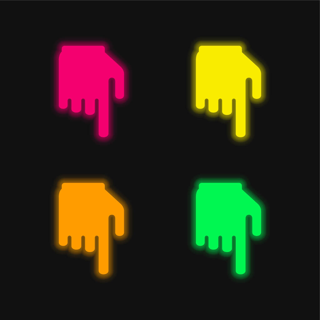 Black Hand With Finger Pointing Down four color glowing neon vector icon