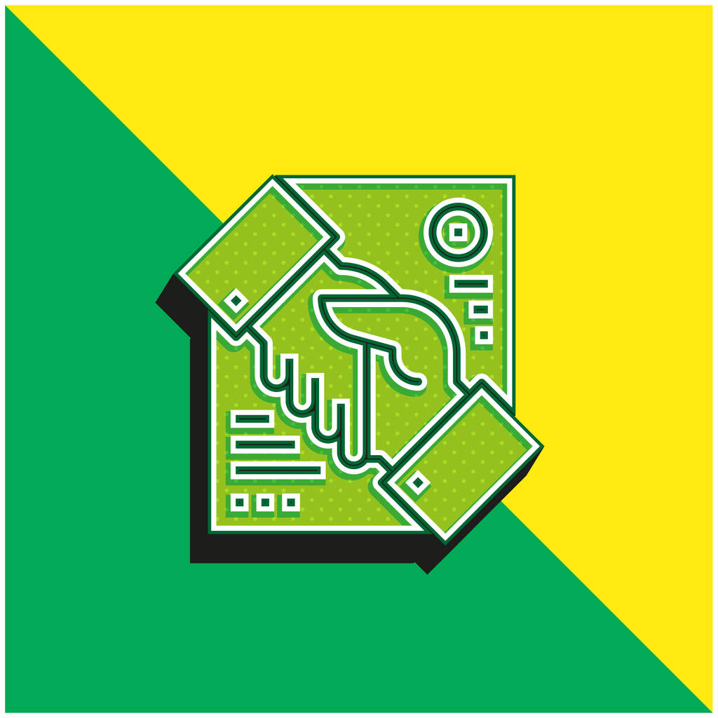 Agreement Green and yellow modern 3d vector icon logo
