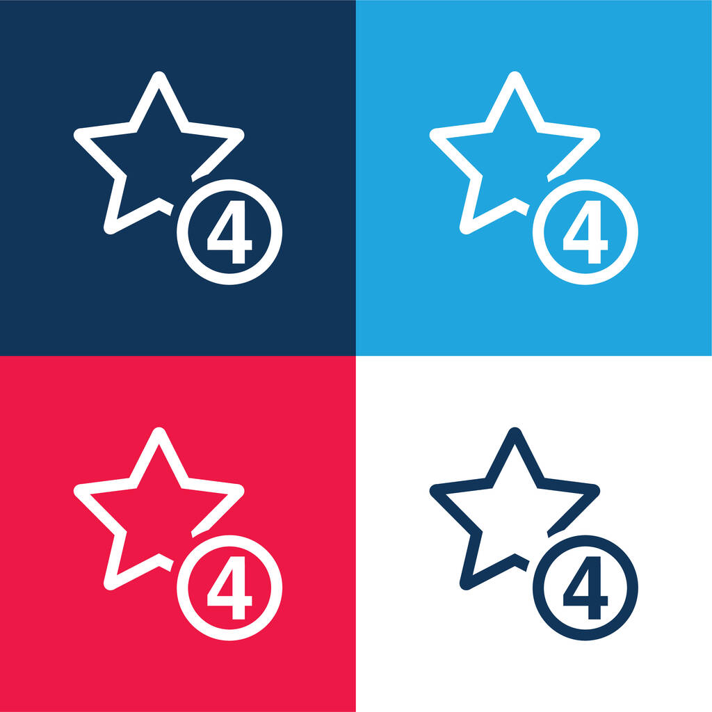 4 Stars Sign blue and red four color minimal icon set