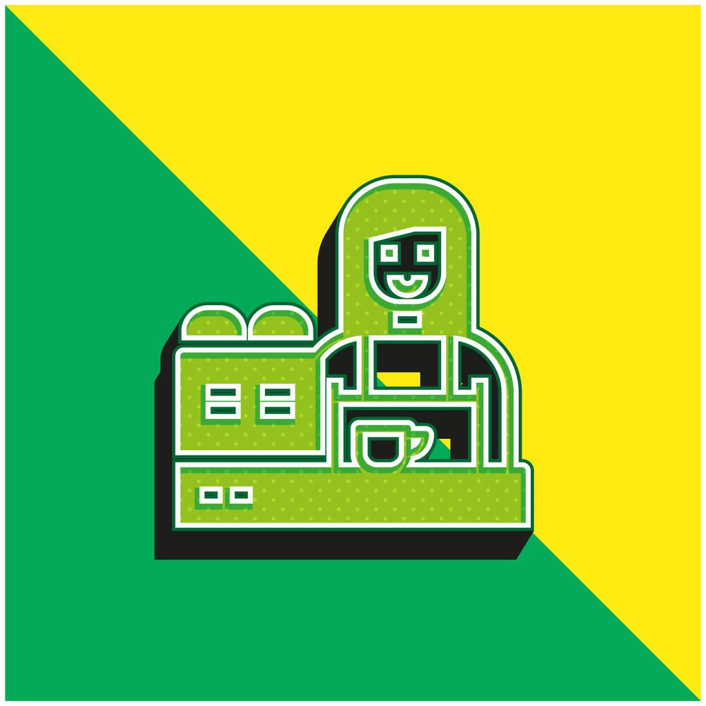 Barista Green and yellow modern 3d vector icon logo