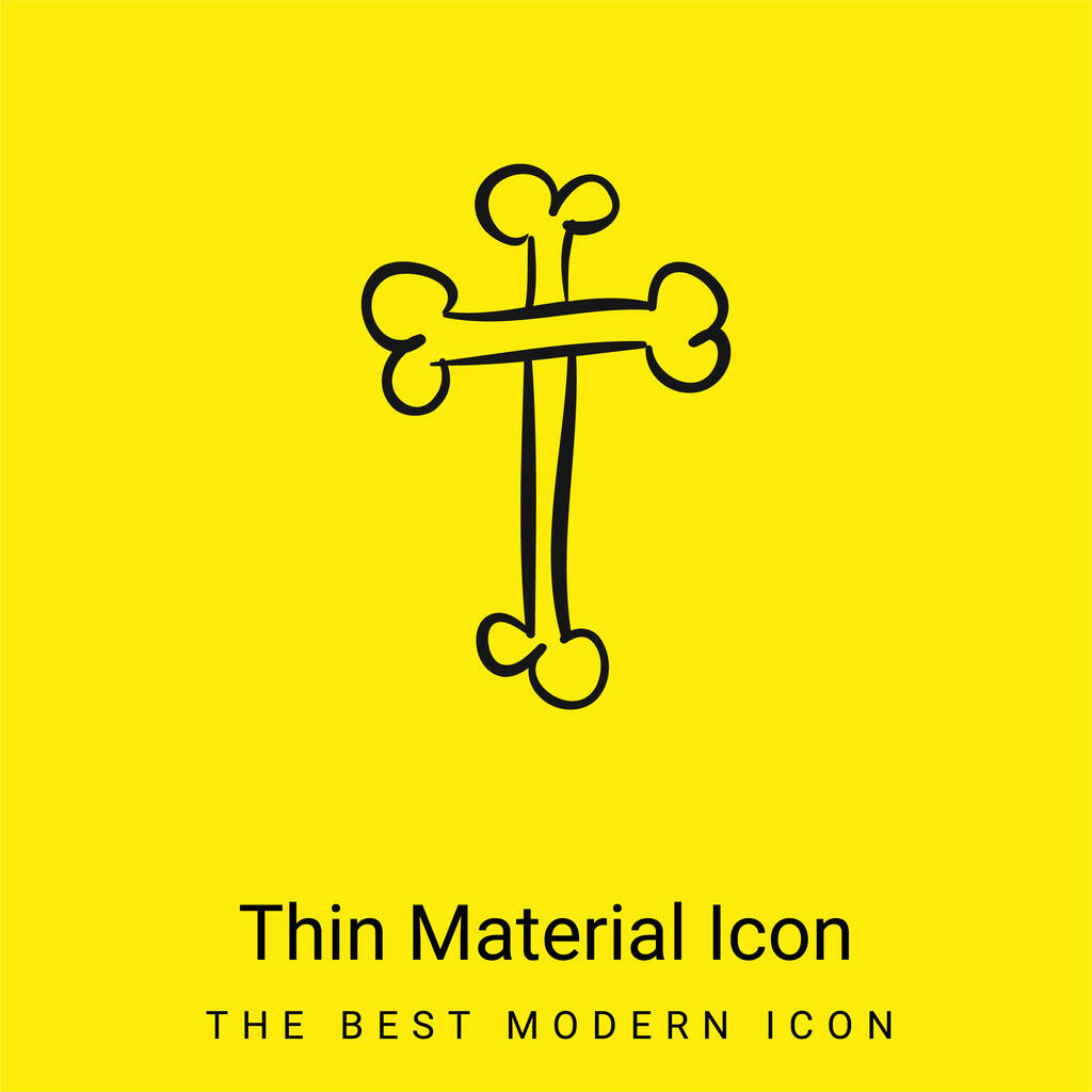 Bones Cross Religious Halloween Sign Outline minimal bright yellow material icon