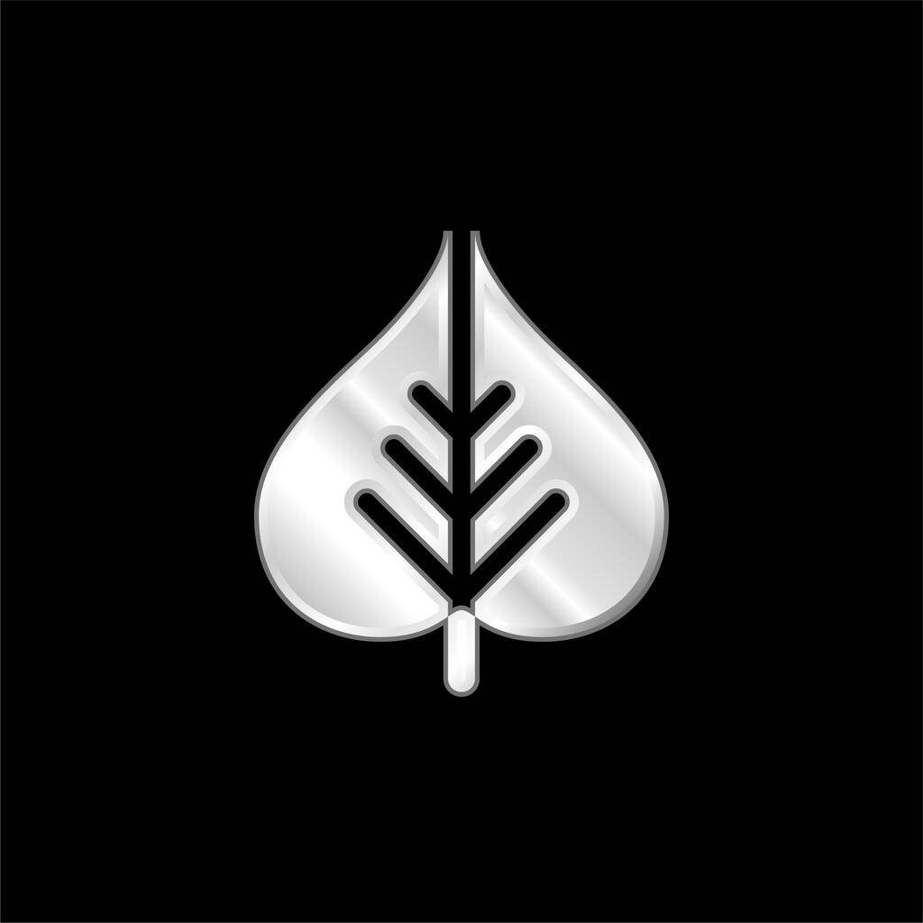 Bodhi Leaf silver plated metallic icon