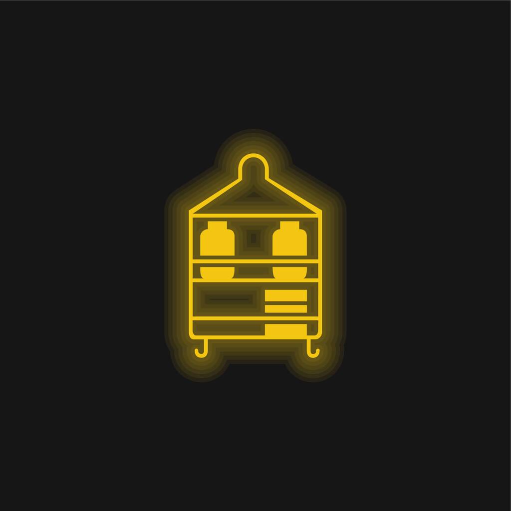 Bathroom Organization Furniture yellow glowing neon icon