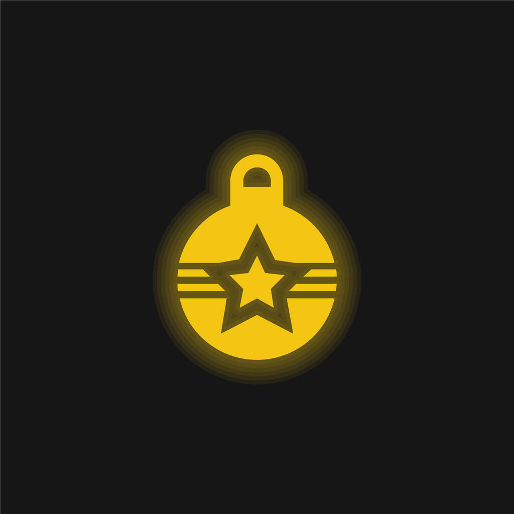 Bauble yellow glowing neon icon