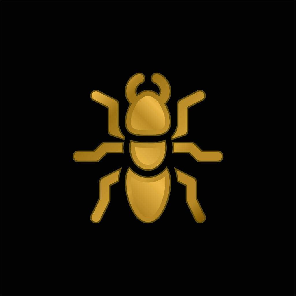 Ant gold plated metalic icon or logo vector