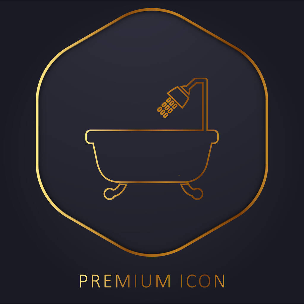 Bathtub With Opened Shower golden line premium logo or icon