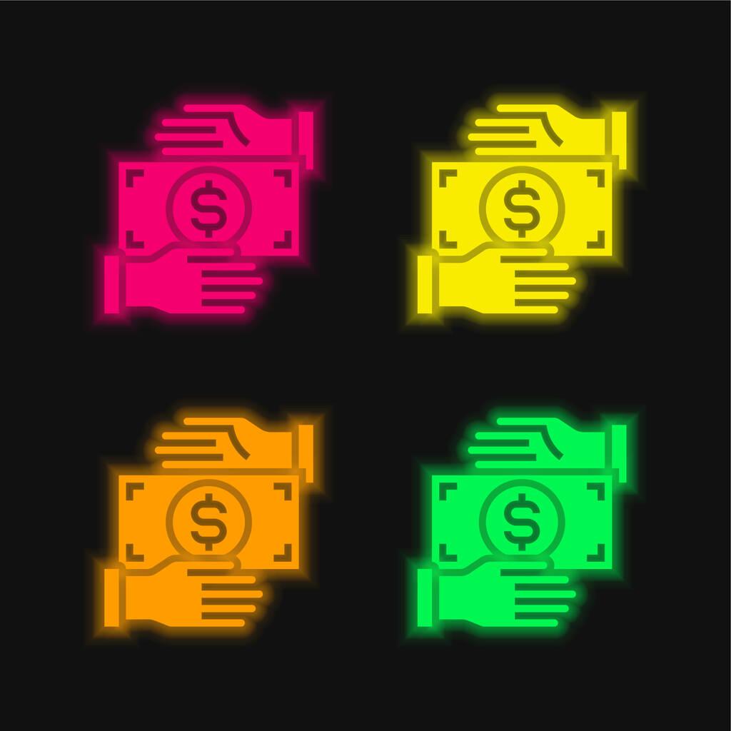 Bribery four color glowing neon vector icon