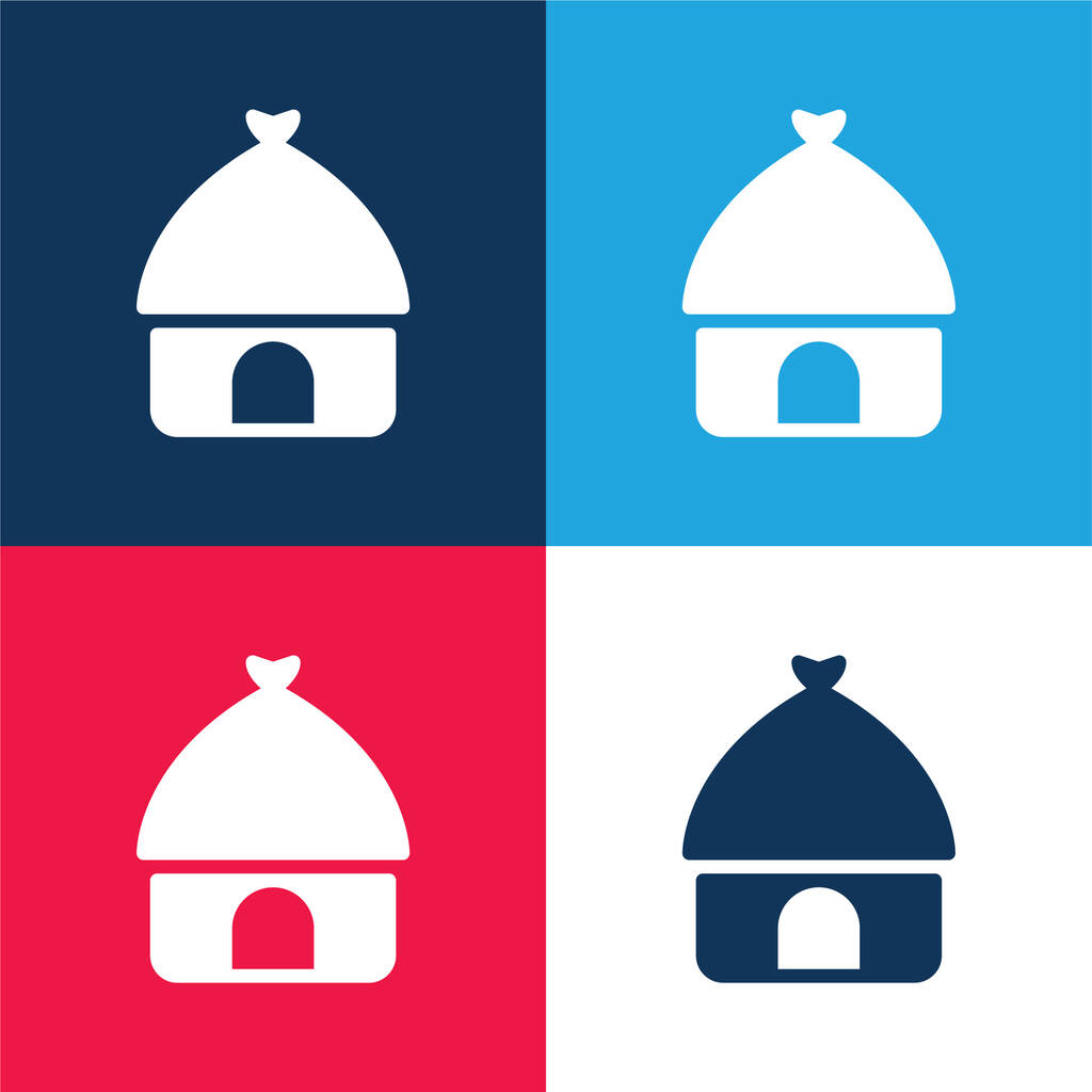 African blue and red four color minimal icon set
