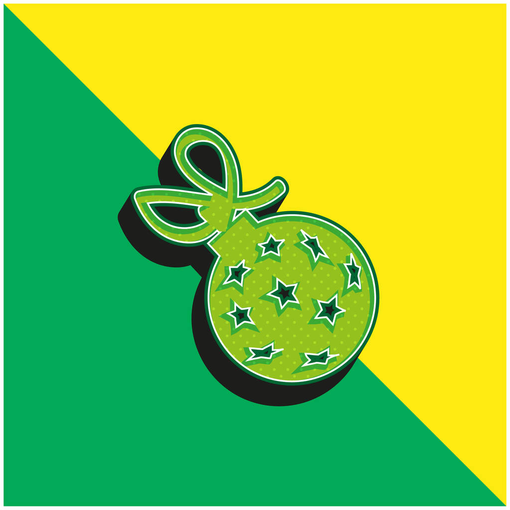 Ball With Stars And Ribbon Green and yellow modern 3d vector icon logo