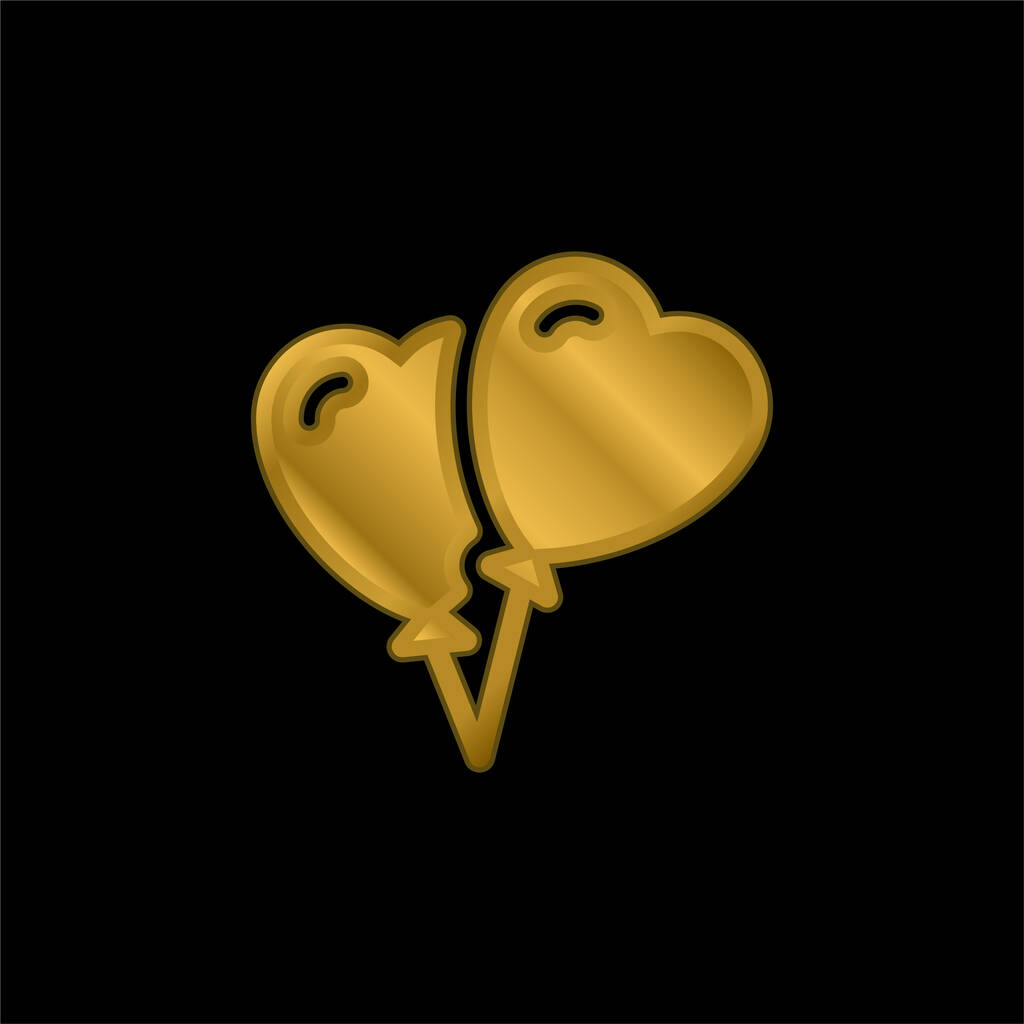 Balloons gold plated metalic icon or logo vector