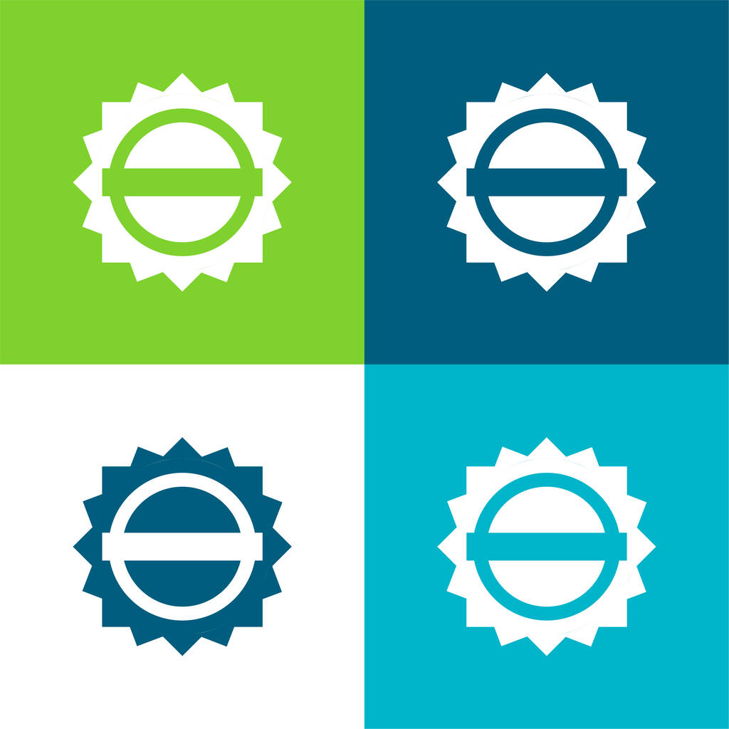 Black Circular Label With A White Banner Flat four color minimal icon set