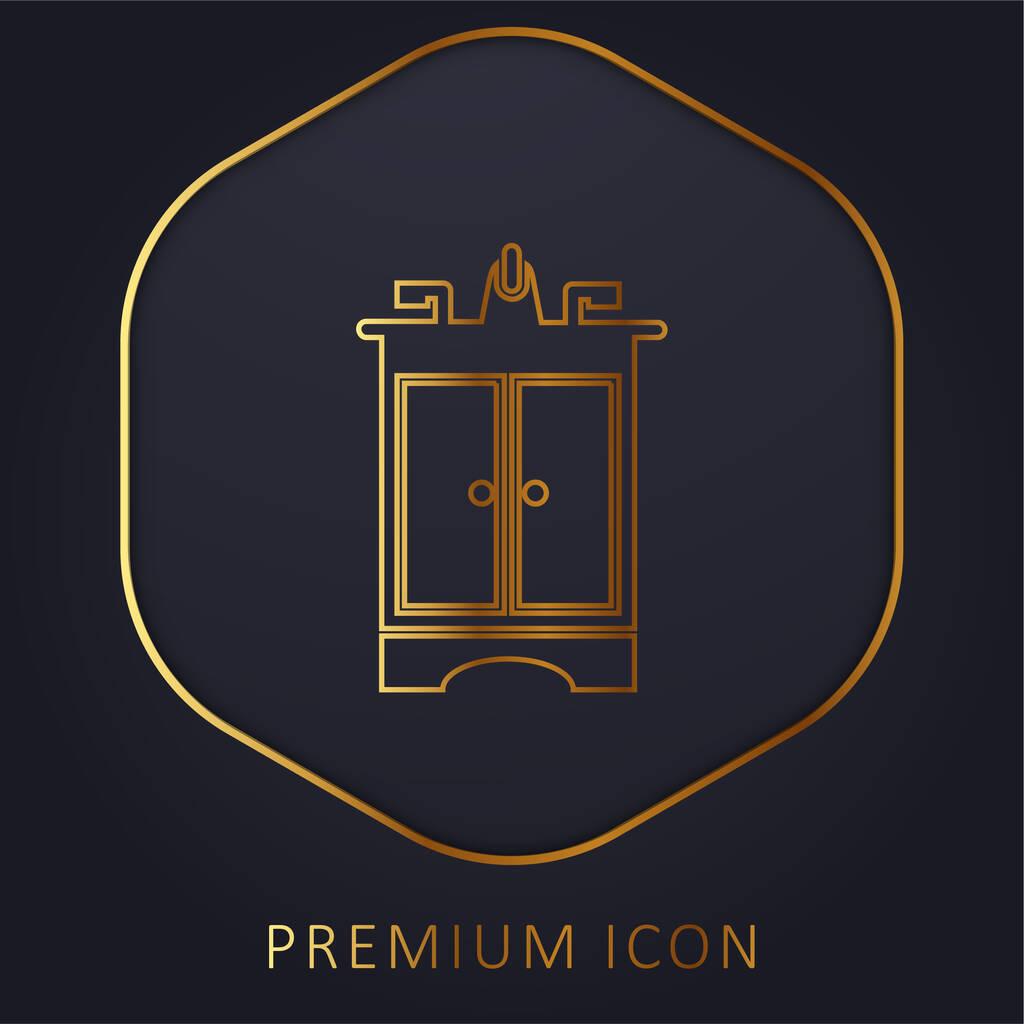 Bathroom Furniture golden line premium logo or icon