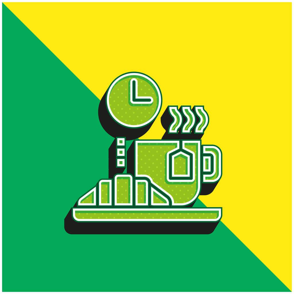 Break Green and yellow modern 3d vector icon logo