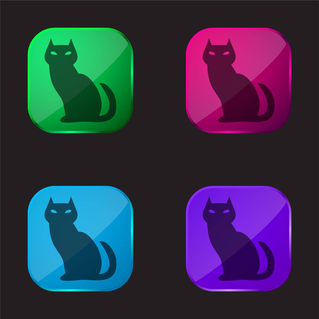 Black Evil Cat four color glass button icon