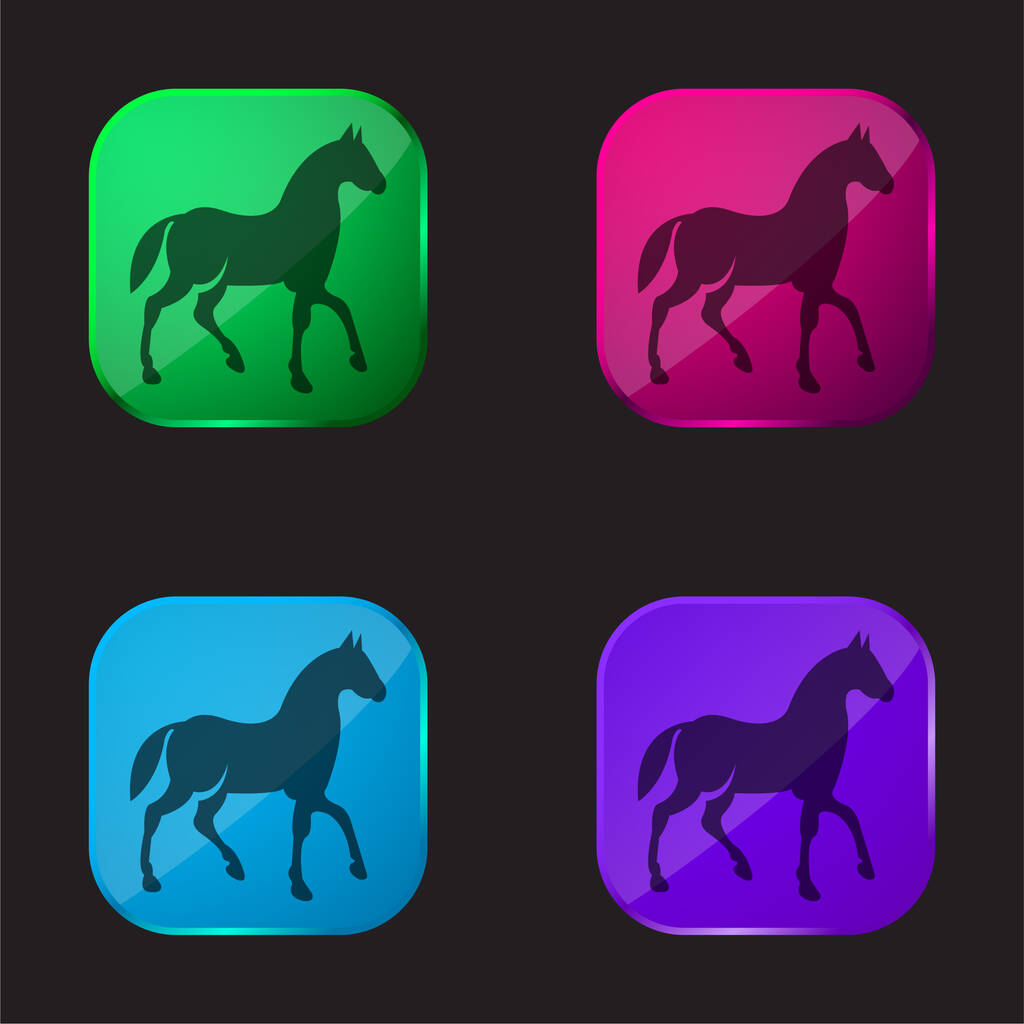 Black Race Horse On Walking Pose Side View four color glass button icon