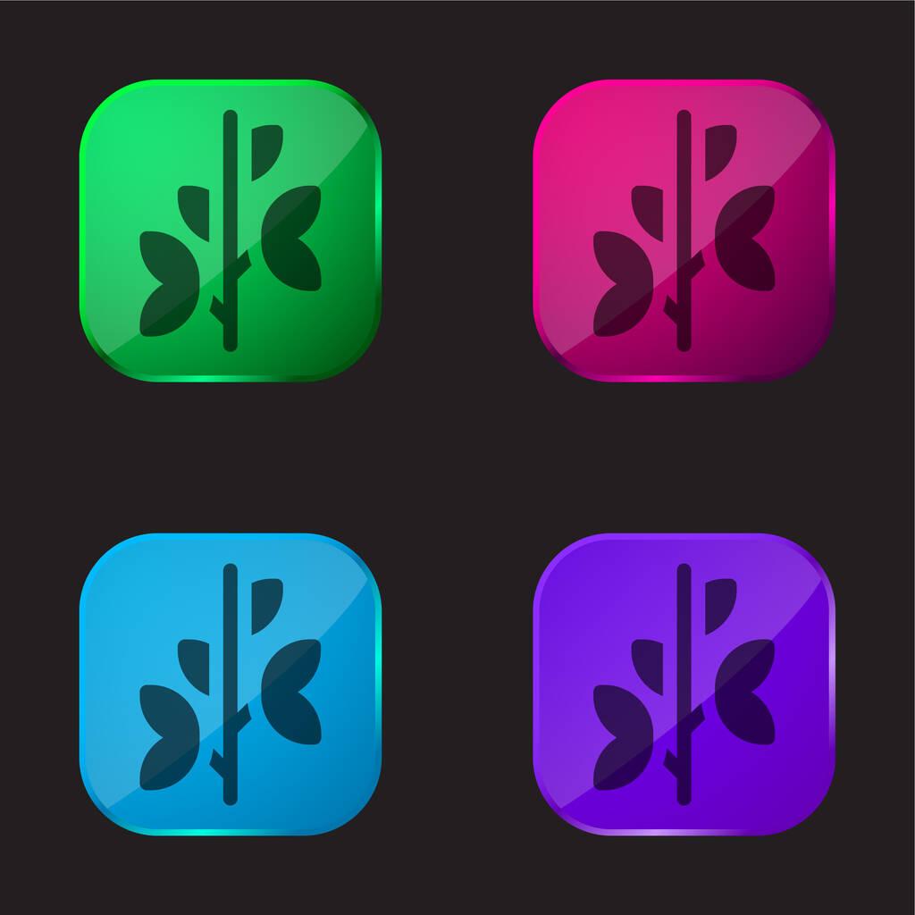 Branch four color glass button icon